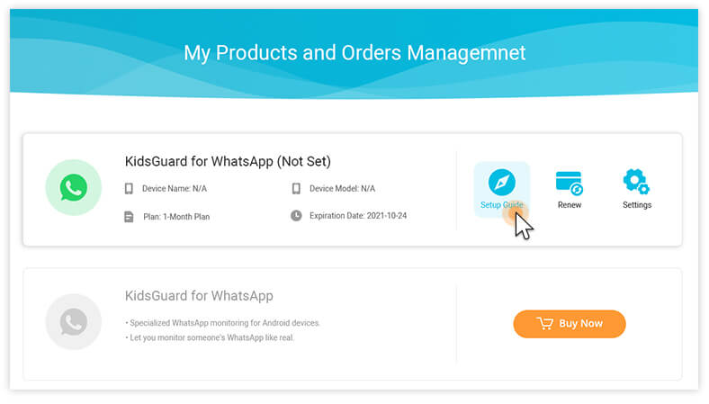 sign up for kidsguard pro and get the setup guide