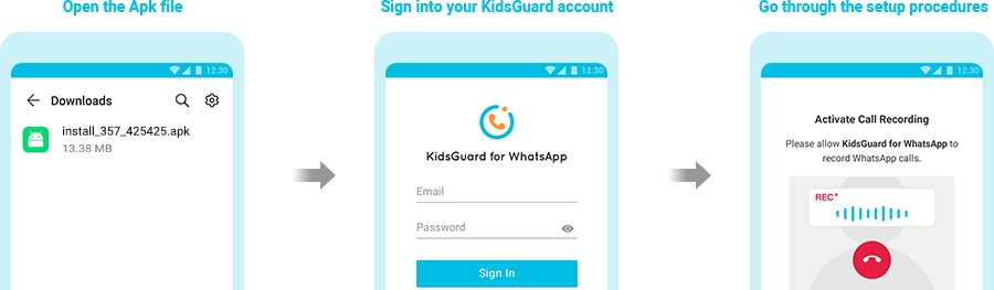 download app on the target device