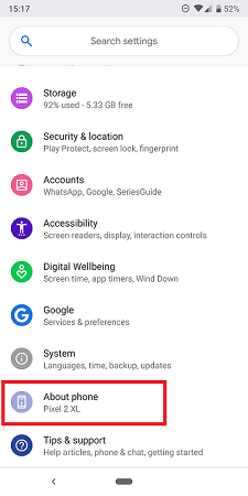 about phone option