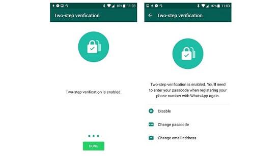 two step verification of whatsapp