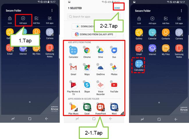 add apps in secure folder