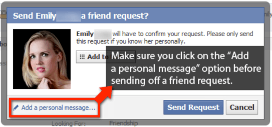 send a Facebook friend request