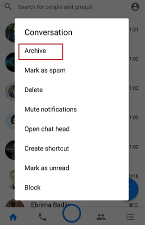 how to archive messages on facebook