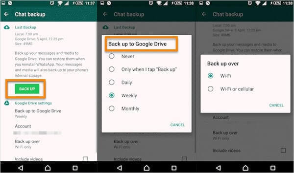 backup messages from WhatsApp