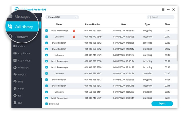 kidsguard pro call logs for ios
