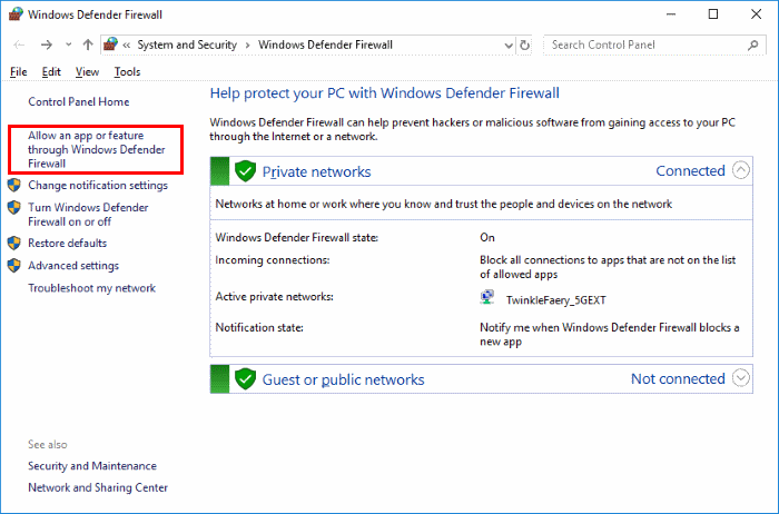 check firewall settings on windows