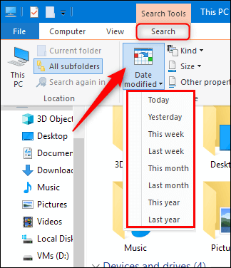 check recently modified files on windows