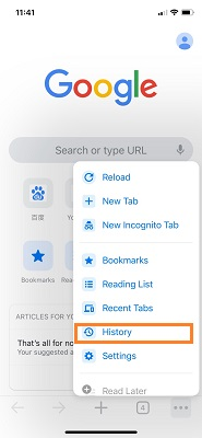 view chrome history on iphone