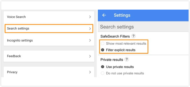 enable safesearch google app
