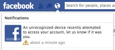 facebook login notification