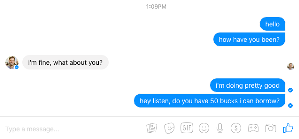 facebook messages different status