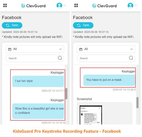 kidsguard pro keystroke recording feature for facebook
