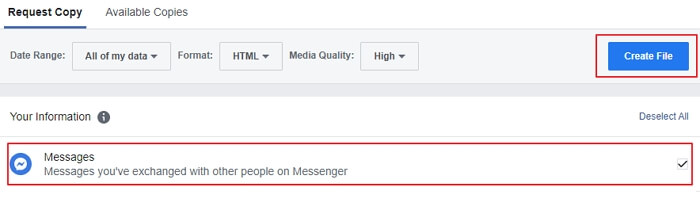 request a copy of facebook messages