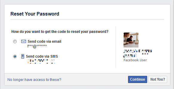reset facebook account password