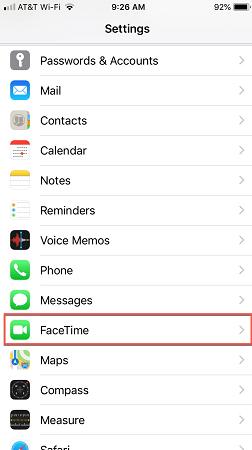 facetime option