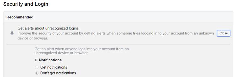 get alerts about unrecognized logins