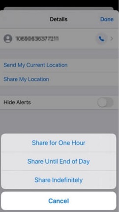 share location and choose duration