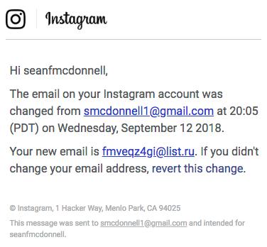 instagram email revert