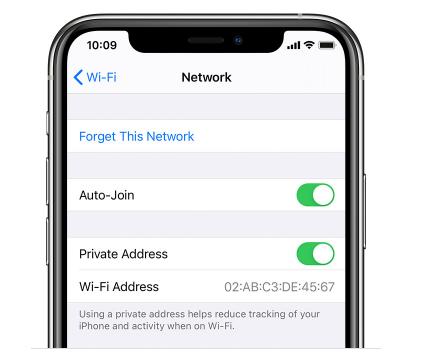 ios 14 Wi-Fi Private Address
