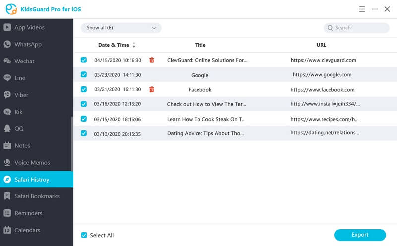 view safari history with kidsguard pro for ios