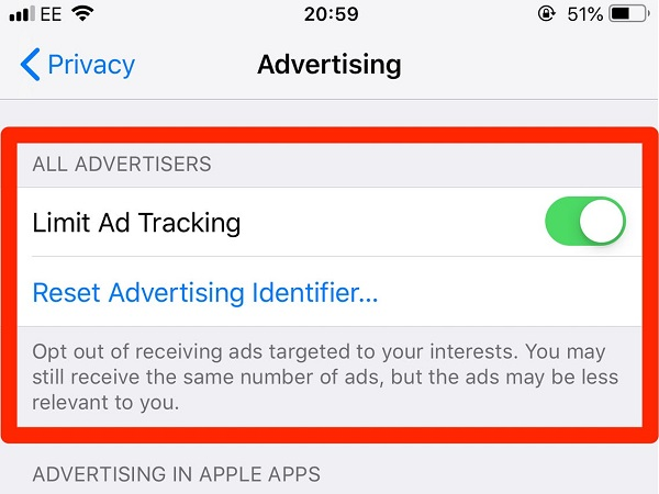 iphone ad tracking