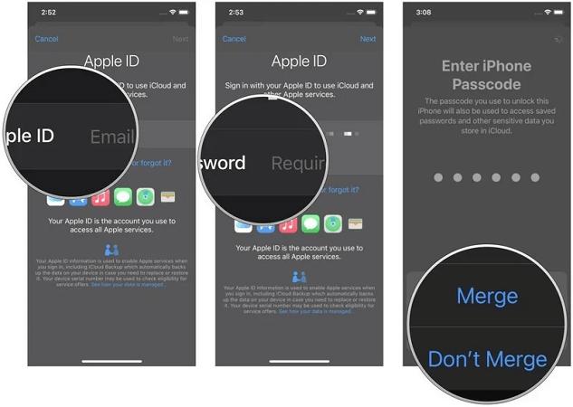 iphone icloud merge