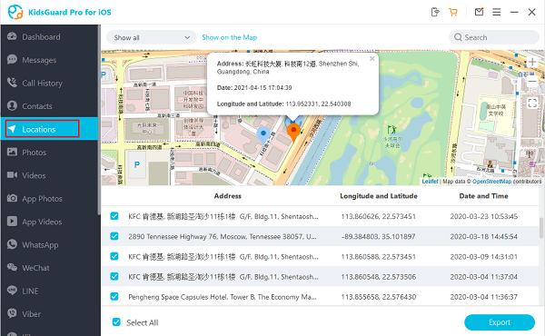 location dashboard