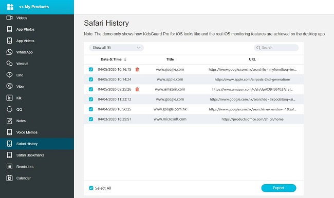 kidsguard pro ios deleted browsing history