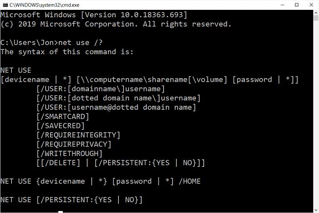 Net use help window