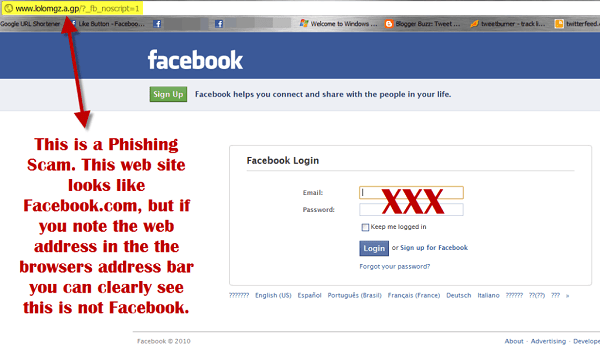 phishing to hack facebook password