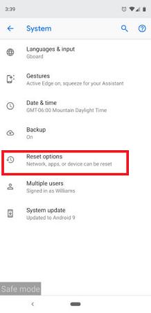 reset options