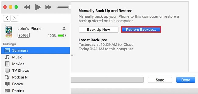clone an iphone from itunes backup