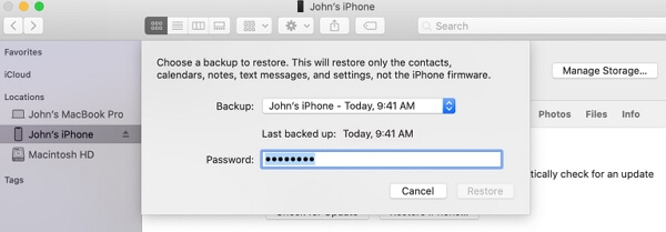 restore safari history from iTunes backups