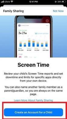 Screen time setting step 2