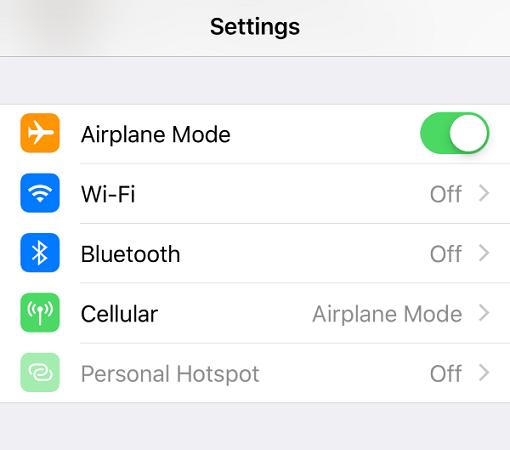 settings airplane mode
