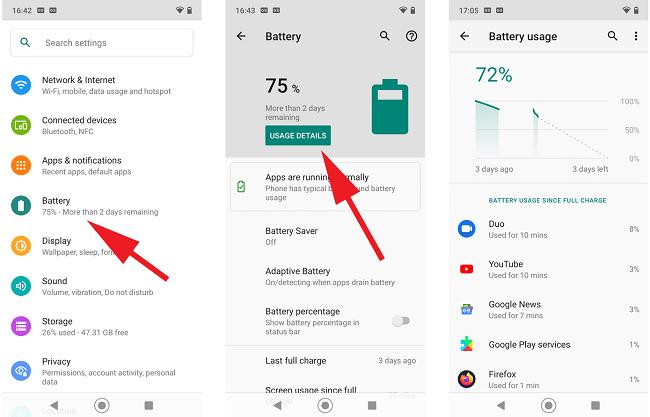 settings battery usage