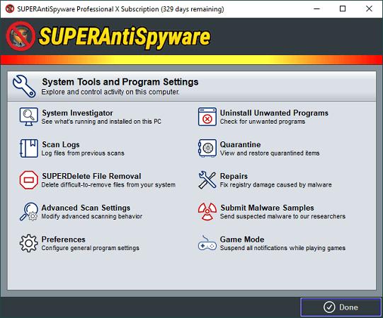 superantispyware interface