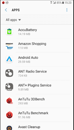 the installed apps