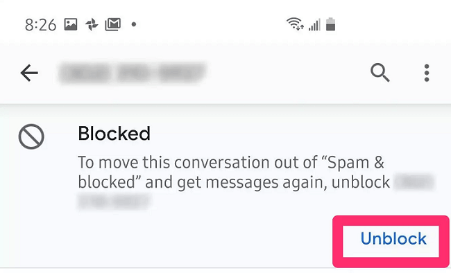 unblock a number