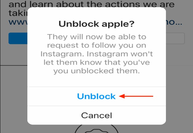 unblock someone instagram