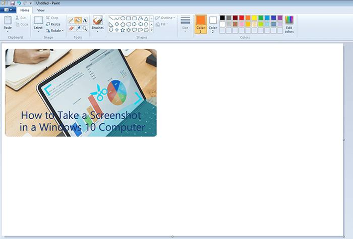 use paint to save sereenshots on windows