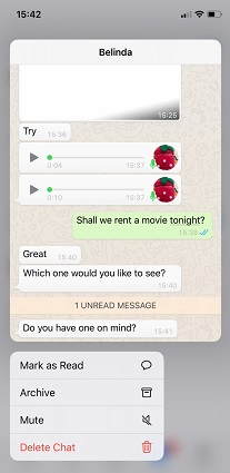 read whatsapp message preview with iPhone 3D Touch