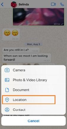 choose location on whatsapp
