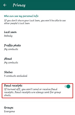 Use Android WhatsApp Widget to read whatsapp message without the sender knowing