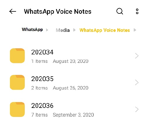 listen to voice message on WhatsApp from file manager