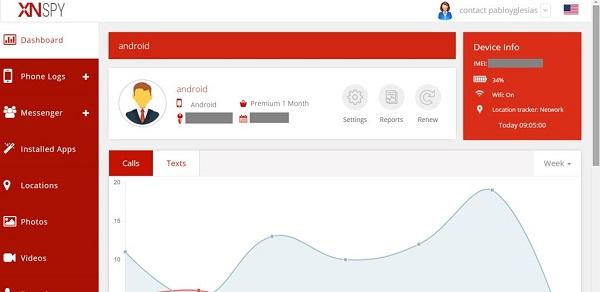xnspy online dashboard